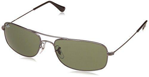 Ray-Ban Men Oversized Sunglasses Silver Frame Green Lens Medium