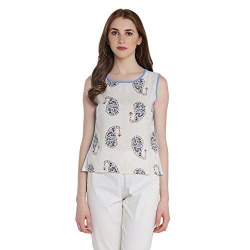 Akkriti By Pantaloons Women's Paisley Regular Fit Top (110037520005_Blue_XX-Large)
