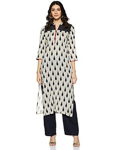 Soch Women's cotton straight Salwar Suit Set NC KS 290-BEIGE-NAVY BLUE_Beige_XS