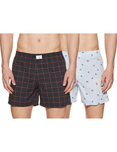 DIVERSE Men's Slim Printed Boxer Shorts (Pack of 2) (DCMBS01SC09L34-229_Sky Blue, Navy_S)