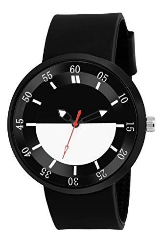 IIK Collection Multicolor Dial & Black Color Band Material Silicon Analoge Watch...